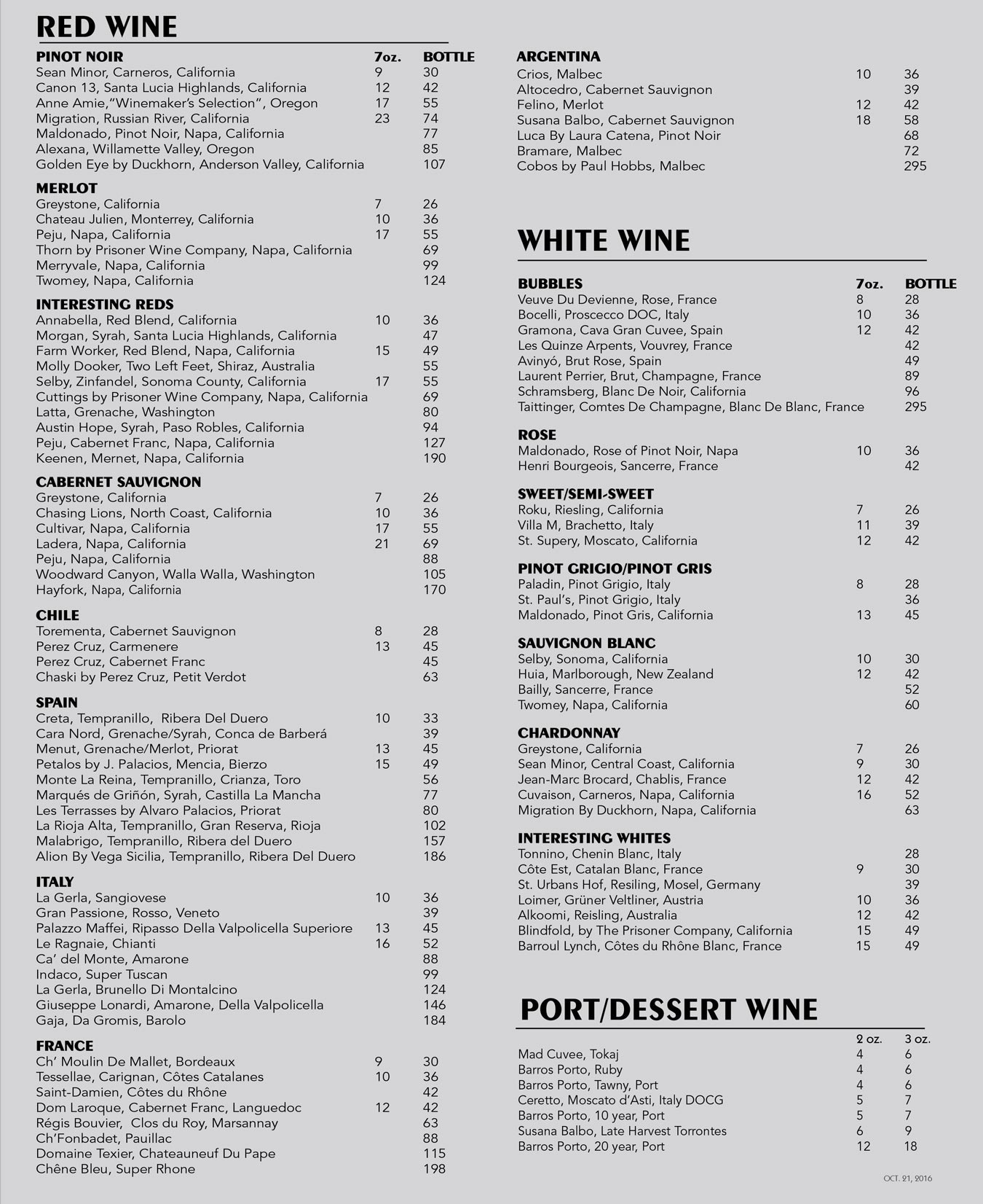 Wine menu salt for Table 52 wine list